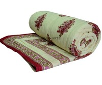 Hand Block Print Quilt Traditional Red Paisley Floral Razai