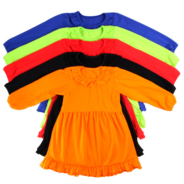 Cheap wholesale little girls 2 year old girls pageant ruffle dress long sleeves solid babies dresses winter