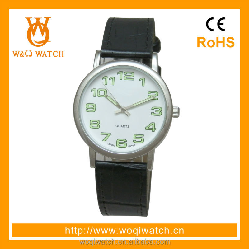 alloy case and pu strap branded watch
