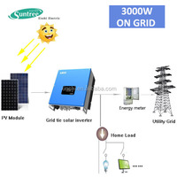 3000w panel solar home power system on grid with 3kW solar inverter 10 years warranty