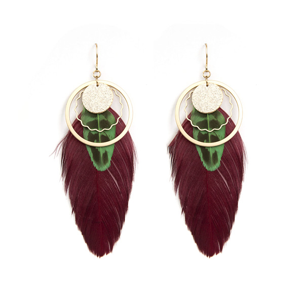 bridal wear feather women fashion ladies earrings designs