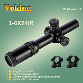1-6X24IR riflescope with illuminated reticle lockable turrets China wholesale Voking/OEM rifle scope for hunting