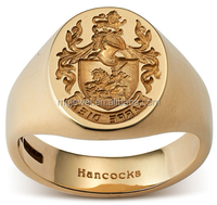 Custom specific crest signet rings for men with lasered wording inside