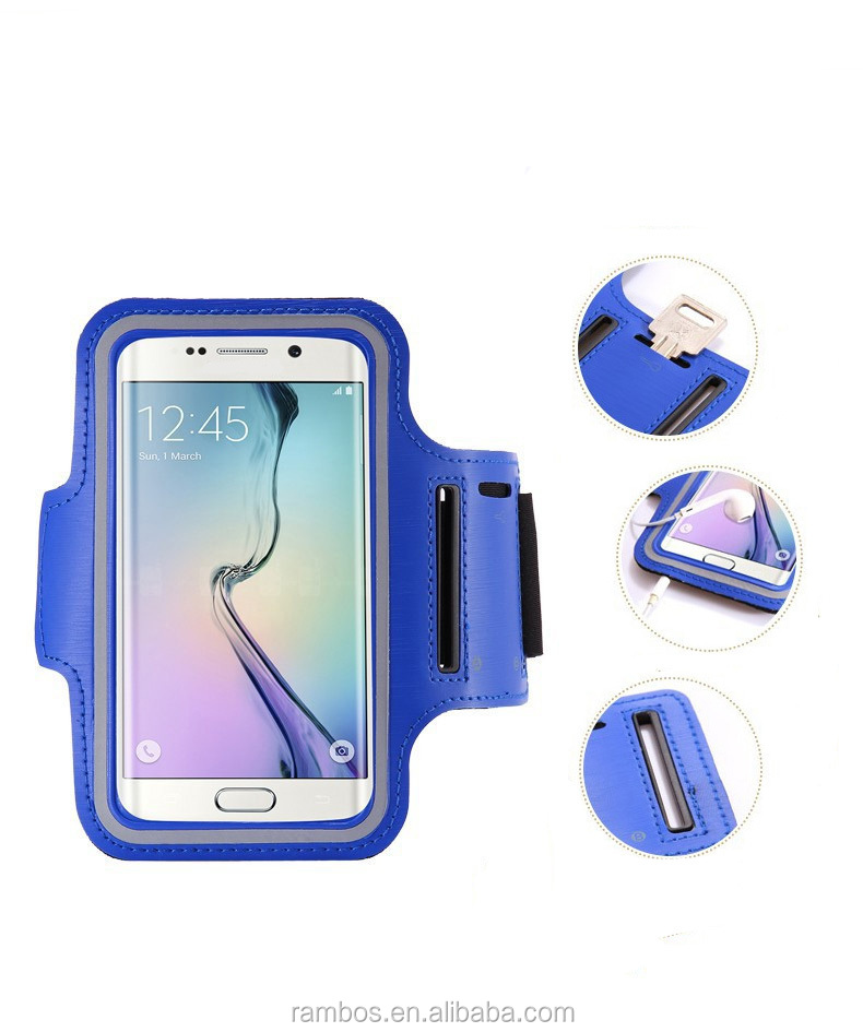 Waterproof Sport Running Armband Gym Mobile Phone Arm Holder Leather Case for Smausng Galaxy S6 Edge Plus