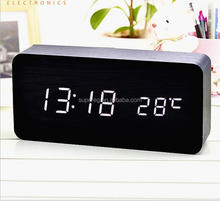 Wooden led digital Alarm Clock Wholesale mini voice sensor control weather multifunction station clock with temperature trend