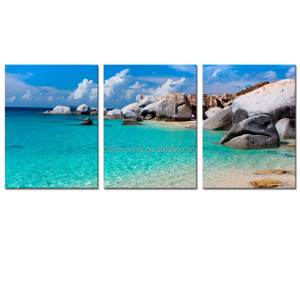 Blue Sea Seascape Canvas Wall Art White San Beach <strong>Picture</strong> Printed on Canvas for Wall Decor