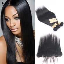 Brazilian Virgin Hair Straight Lace Frontal Closure with Bundles 100% Unprocessed Virgin Straight Hair Lace Frontal with Bundles