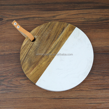 New element : round shaped marble and wood cheese cutting board serving platter