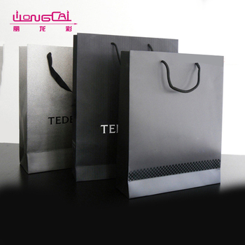 OEM custom logo printed famous brand recycled black luxury paper shopping bag