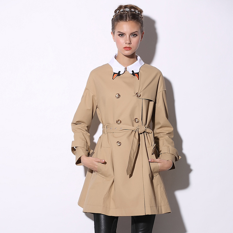 Free Shipping 2015 Europe Brand women's coat,Double-breasted High-end Fashion Long Coats