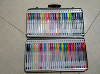60 pcs wonderful color glitter gel pen set with metal pencil bag