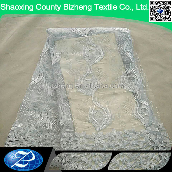 Hot sale white african soft bridal embroidered tulle french elegant net lace fabric