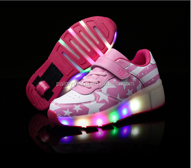 2017 Popular led roller shoes led flashing colorful roller shoes for adult