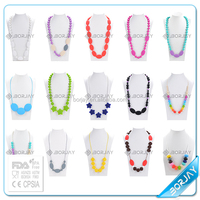 Food grade mixed colors beads baby silicone teething necklace