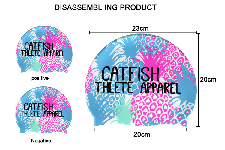 Colorful Customized Logo Available Printed Swim Cap Silicone