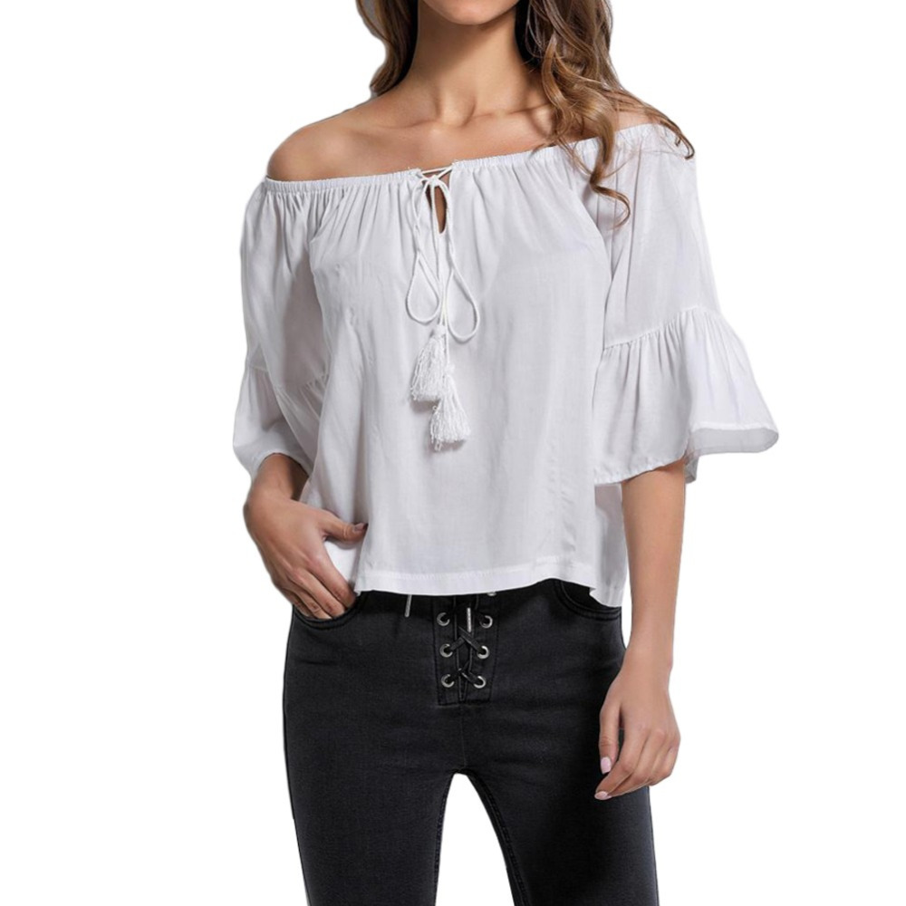 Sexy Off Shoulder Tunic Blouse Women Tassel Shirt Summer Boho Casual Top White