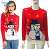 2018 High Quality Girls Sublimation Embroidery China Computerized Knitting Ugly Christmas Sweater with Snowman Design