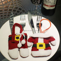 Christmas Cutlery Clothes Knife and Fork Cover Holder Christmas Home Tableware Decorations Ornament Wholesale