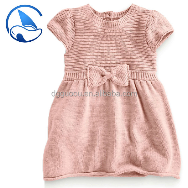 2015ss Children 's cotton dress with bowknot design sweater