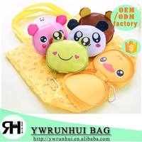 Wholesale Newest Design 210D nylon cute cartoon animal recycle folding shopping bag with buckle