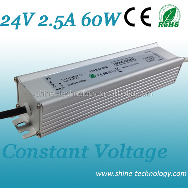 Guangdong slim constant volt led driver 24v 12v, 12v 24v auto switching led power driver 60w