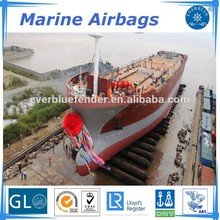 Natural rubber with synthetic-tire-cord reinforcement layer marine airbags for ship launching/lifting/salvage
