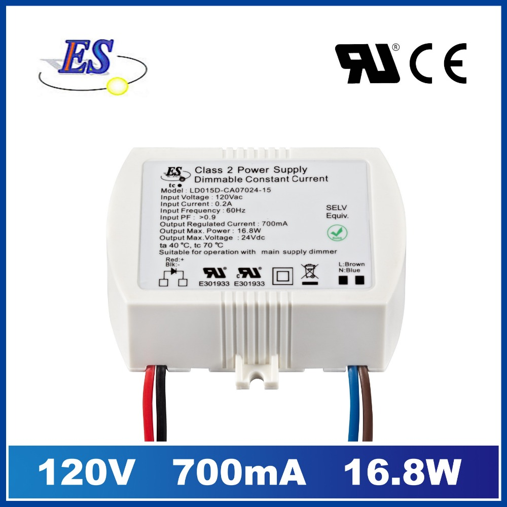 ES 120Vac 16-24Vdc 700mA 16.8W constant current led driver power supply with TRIAC dimmer,UL CUL IP65