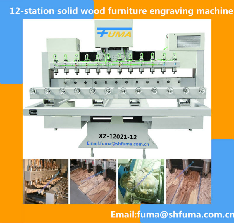 12-station solid wood furniture engraving machine Rotary Series