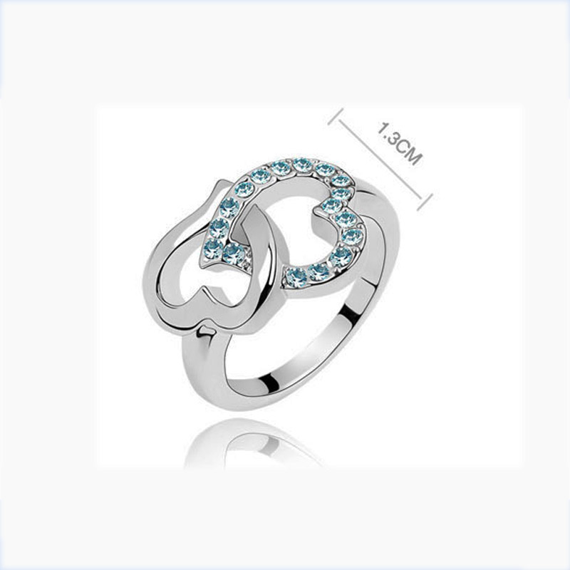 Stylish Fashion Open Linked Double Heart Ring for women bridalds crystal heart rings Jewelry wholesale