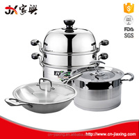 Steamer pot frying pan stainless steel camping cookware set