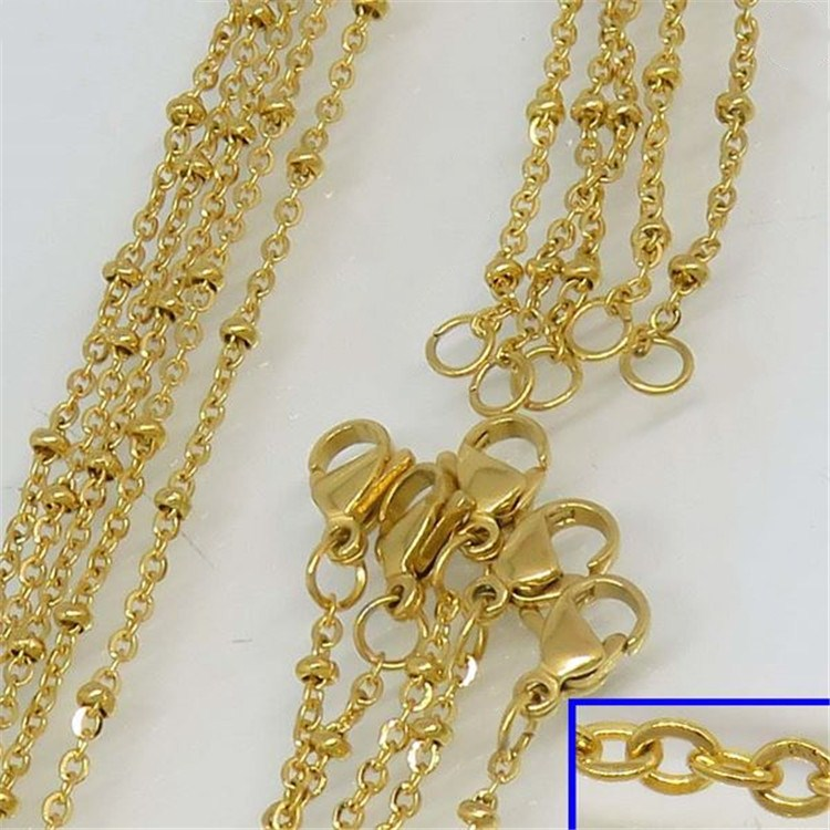 Guangzhou Factory price fashion real gold necklace never fade gold chain for women or men