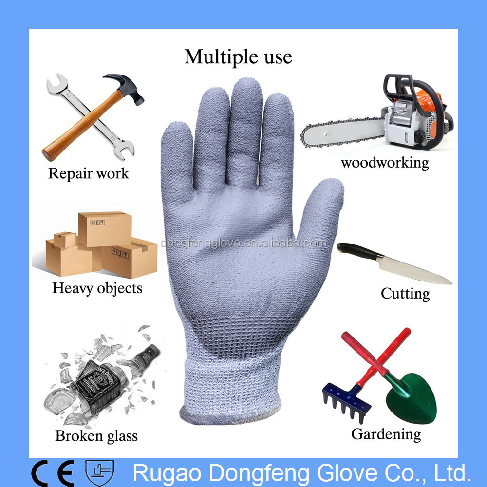 PU Coated Safety Working Cut Resistant Gloves/ EN388 Cut Level 5 and 3 Cut Proof Gloves/Cut Protection Gloves for Glass Industry