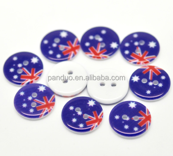 Australian Flag Pattern Printed Round 2 Holes Resin Sewing Buttons
