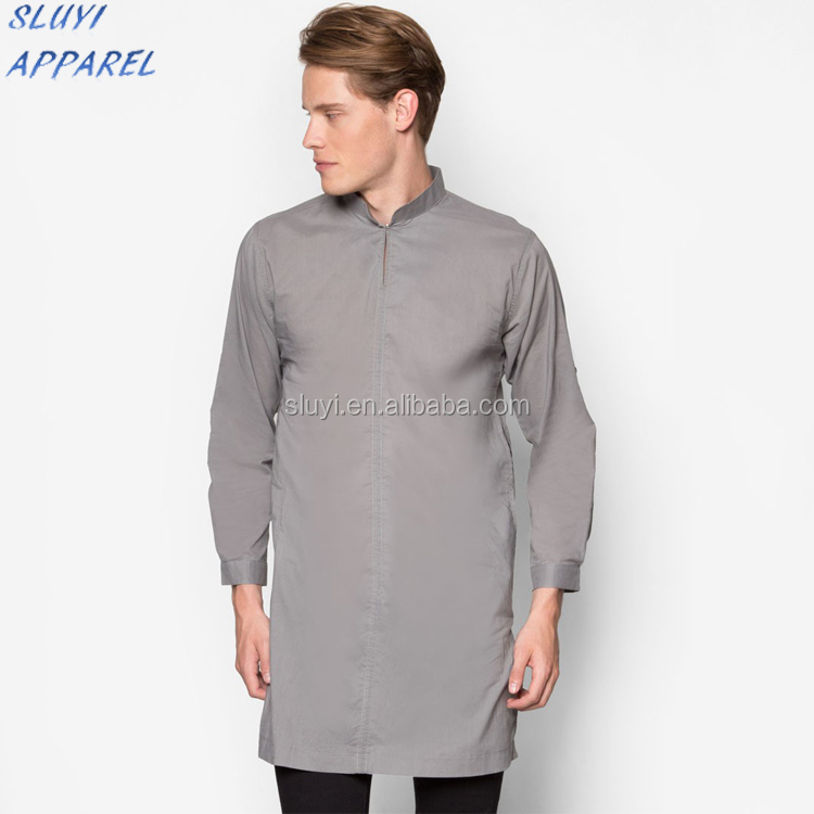 Autumn Winter Muslim grey Abaya/ Turkish Jilbabs for men Islam gentleman clothes long sleeve muslim mens dress