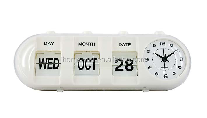 Plastic desk auto flip clock day dare calendar clock alarm clock with flip