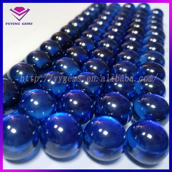 sapphire cz gemstone beads synthetic zirconia ball for jewery box