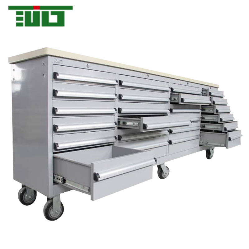 TJG Metal Tool Storage Box Type 96 Inch Tool Chest With Wooden Up