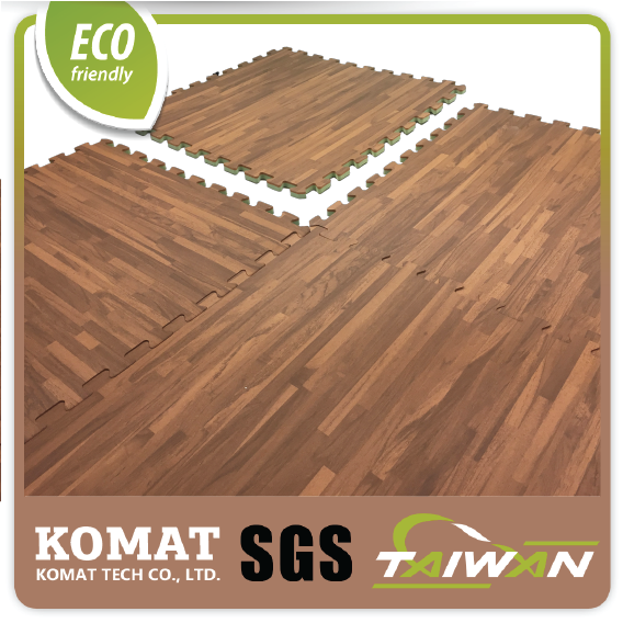 Brown Dual Usage Wooden Printing Textured Toxic-Free EVA Plastic Floor Mat