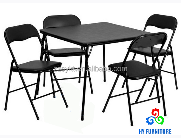 Portable cheap 5 Piece Black Folding Card Table and padded Chair Set