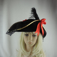 golden covered edge black caribbean pirate hat with black feather and red bowknot