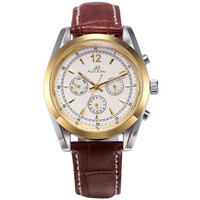 Round Dial Golden Case 3 Dail Leather Band Men Mechanical Watch