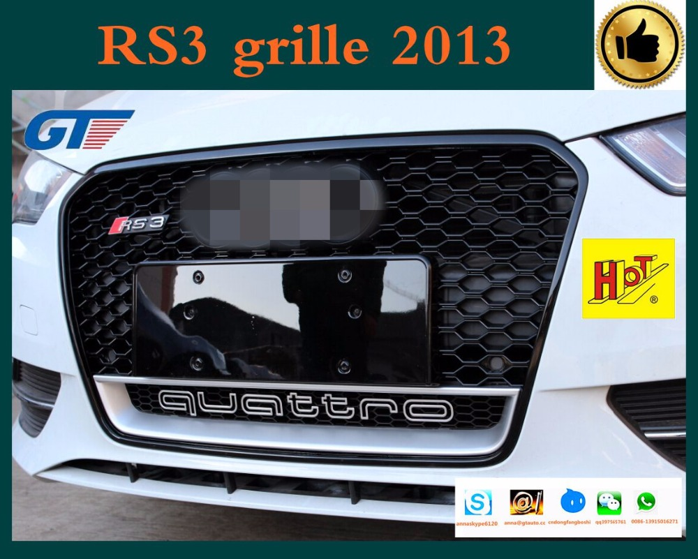 honeycomb car grill with Quattro logo for auqi A3 8V RS3 2012-2014