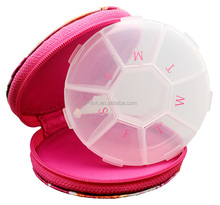 Hot Seller: 7 Day/Weekly Curcle Pill Box for travelling with bag/paurse