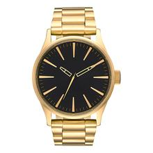 Fashion style japan movement custom gold plated stainless steel watch