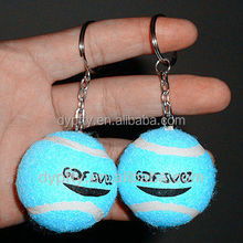 Rubber colorful tennis ball keychain