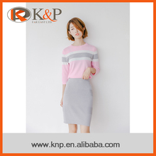 spring summer single color women thin knitted latest skirt and blouse