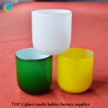 antique colored pinted glass candle holders