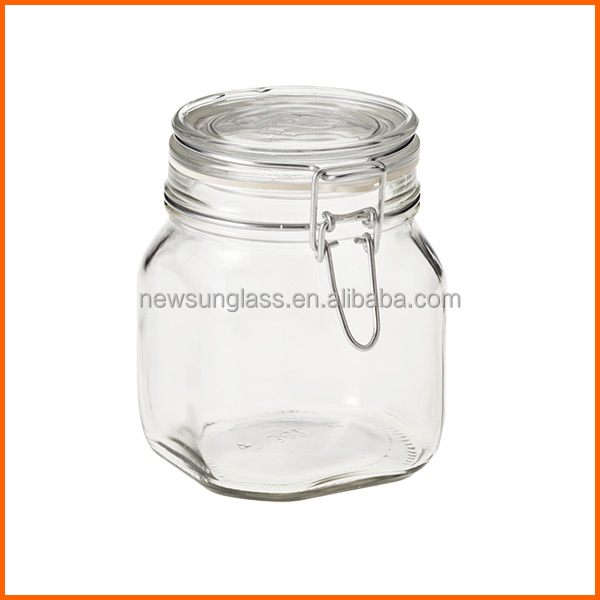 Popular clear swing top glass jar