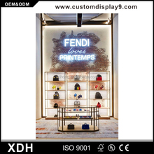 Good quality school bag display stand led display cabinet