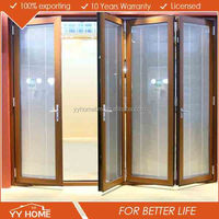 YY Home manufacturer cheap price comercial aluminum glass folding door mechanism with AS 2047